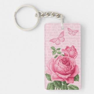 Pink vintage rose girly keychain w/ butterflies
