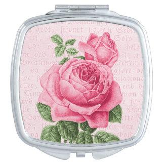 Pink vintage rose girly mirror travel mirror
