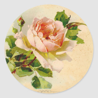 Pink Vintage Rose Watercolor Painting Classic Round Sticker