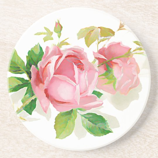 Pink vintage roses coaster