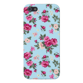 Pink Vintage Roses On Blue Background iPhone 5/5S Cover