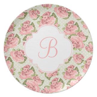 Pink Vintage Roses Pattern Monogram Plate