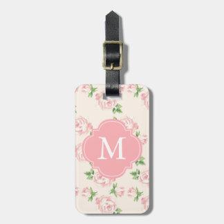 Pink Vintage Roses Pattern Monogrammed Luggage Tag