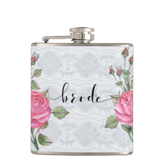 Pink Vintage Roses White Lace Bride Typography Hip Flask