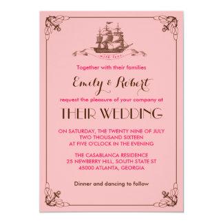 "Pink Vintage Ship Anchor Beach Wedding Invitation 5"" X 7"" Invitation Card"