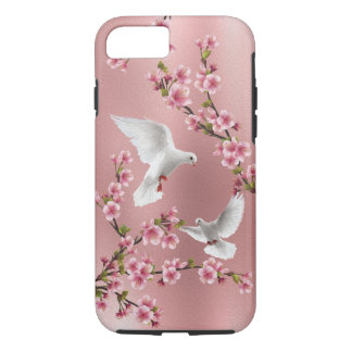 Pink Vintage Style Doves & Cherry Blossom Painting iPhone 7 Case