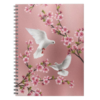 Pink Vintage Style Doves & Cherry Blossom Painting Notebook