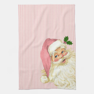 Pink Vintage Victorian Santa Claus Shabby Kitchen Towel