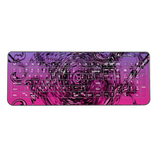 Pink Violet and black swirls Wireless Keyboard
