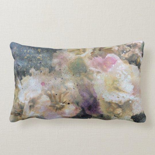 Pink violet floral painting print lumbar pillow