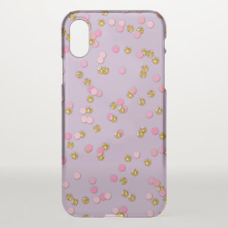 Pink,  Violet Gold Glitter Confetti iPhone X Case