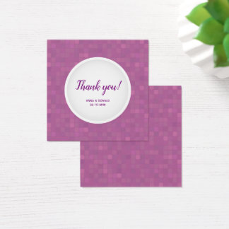 Pink violet mosaic thank you square card. square business card
