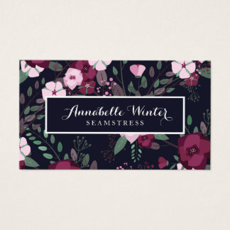 Pink & Violet Roses Floral Pattern Business Card