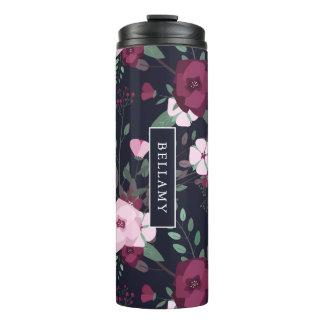 Pink & Violet Roses Floral Pattern Custom Name Thermal Tumbler