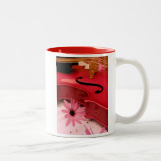 Pink Violin and Daisy Mug