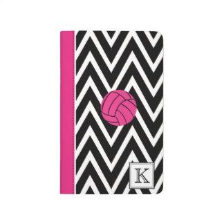 Pink Volleyball & Black Chevron Monogram Journal