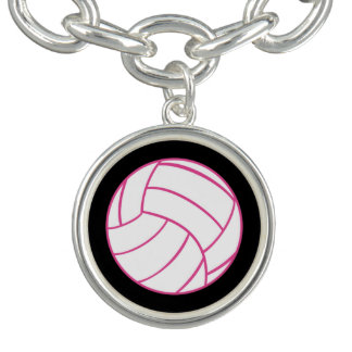 Pink Volleyball Charm Bracelet