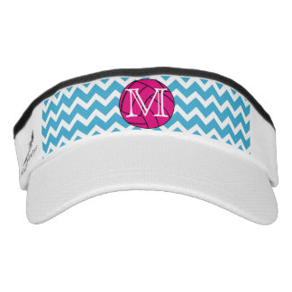 Pink Volleyball Chevron Monogram Sport Sun Visor