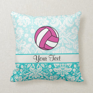 Pink Volleyball; Damask Pattern Throw Pillow