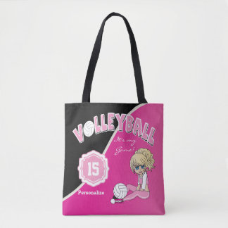 Pink Volleyball Diva Girl Tote Bag