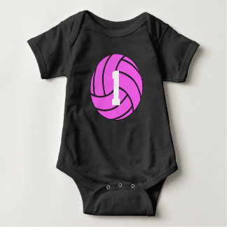 Pink Volleyball Jersey Number Baby Bodysuit