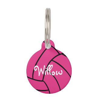 Pink Volleyball Personalized Pet Tag