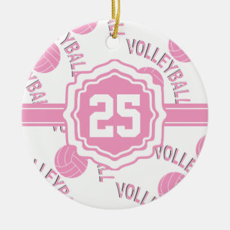 Pink Volleyball Round Ceramic Ornament
