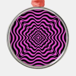 Pink Vortex Metal Ornament