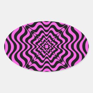 Pink Vortex Oval Sticker
