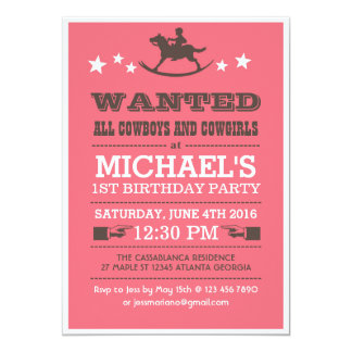 Pink Wanted Western Cowboy Birthday Invitation