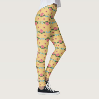 Pink Water Lilies and Blue Dragonflies on Yellow Leggings