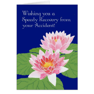Pink Water Lilies on Blue Get Well from Accident Card