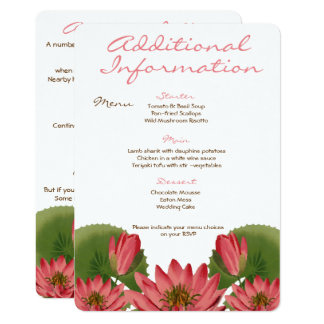 Pink Water Lily Additional Information Card