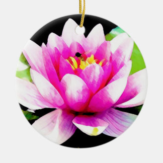 Pink water lily ceramic ornament