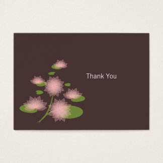 Pink Water Lily Elegant Simple Contemporary Thank  Business Card