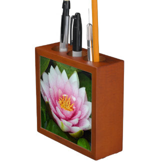 Pink water lily floral print desk organizer
