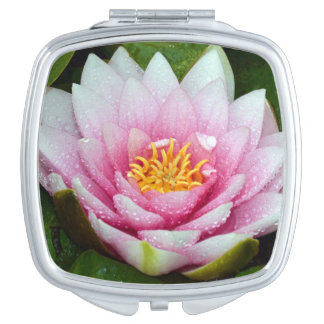 Pink water lily floral print makeup mirror
