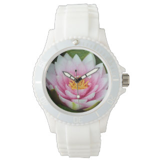 Pink water lily floral print wristwatches