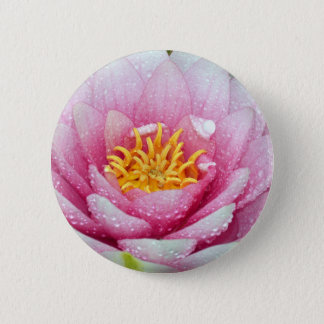 PInk water lily flower 2 Inch Round Button