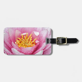 PInk water lily flower Bag Tag