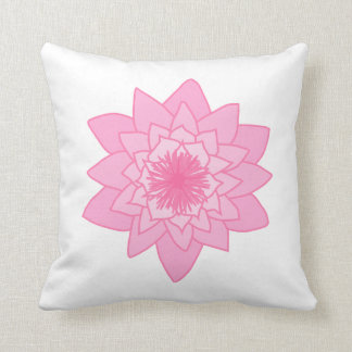 Pink Water Lily Flower. Throw Pillow