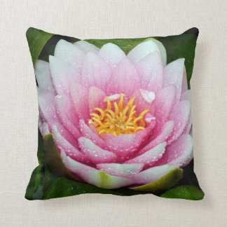Pink water lily flower throw pillow