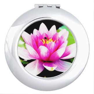 Pink water lily mirror for makeup