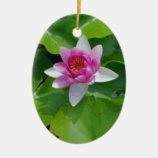 Pink Water Lily On Green Pads Photography Ceramic Ornament
