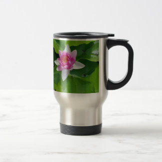 Pink Water Lily On Green Pads Photography Travel Mug