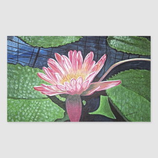 Pink Water Lily Painting Rectangle Sticker