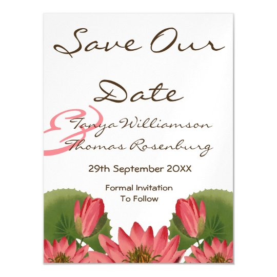 Pink Water Lily Save the Date Magnetic Invitations