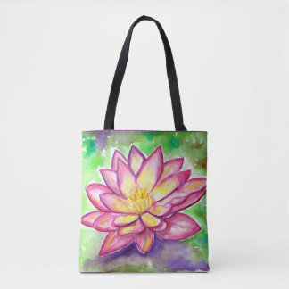 Pink Water Lily watercolor Tote Bag