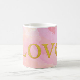 Pink Watercolor 11 oz Classic Mug with Love gold