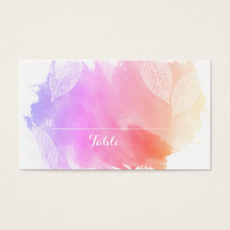 Pink watercolor and leaves wedding place card